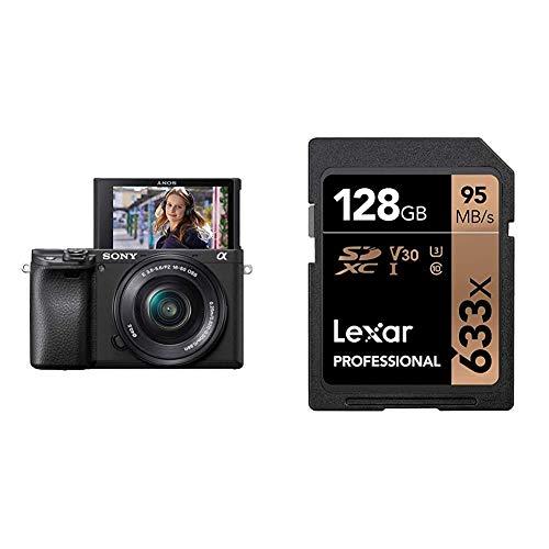 Sony Alpha ILCE-6400L Kit Fotocamera Digitale Mirrorless - Nero, e Lexar Schede Professional 633x 128GB SDXC UHS-I, 45 95 MB s