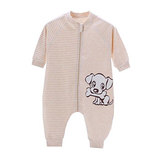 Chilsuessy Baby Sommer Schlafsack mit Beinen Unisex Kleine Kinder Schlafsack Baby Strampler Schlafanzug Pyjamas Baumwolle, Beige Hund, Etikett80/Koerpergroesse 65-75cm