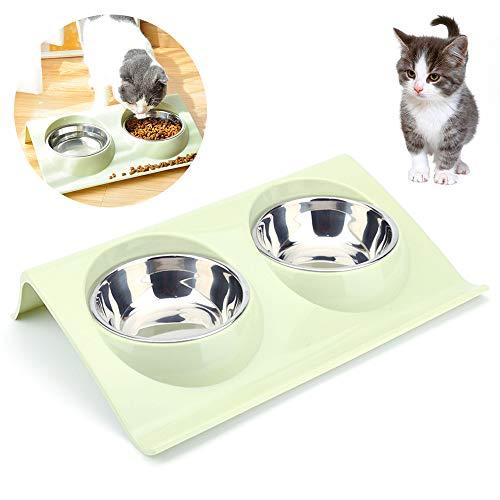 Doppelter Futternapf Katzen ,Futternäpfe Katzenfutter, Katzennäpf Edelstahl rutschfest,FutternapfKatze,Futterschüssel Katze,Hundenapf Schräg,katzenschüssel set für Katze Welpe Futter und Wass (Grün)