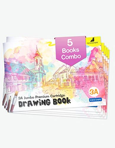 Dibujo para niños | Libros de dibujo tamaño A3 | 36 páginas blancas en blanco | Libros de dibujo para dibujar, colorear y pintar | Juego de 5 cuadernos de dibujo artísticos