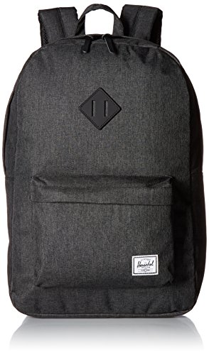 Herschel Heritage Backpack, Black Crosshatch/Black Rubber, Classic 21.5L