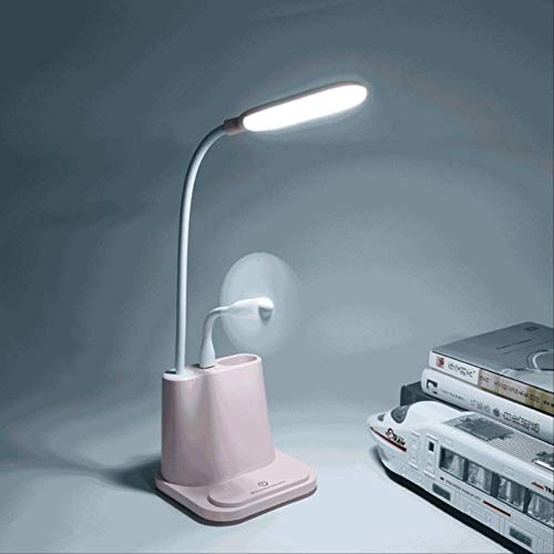 Tafellampen ZWRY 0-100% Touch Dimbare Led-bureaulamp USB Oplaadbare aanpassing voor kinderen Kinderen Lezen Studie Nachtkastje Slaapkamer Woonkamer 11 x 12 x 43,6 CM Roze met ventilator