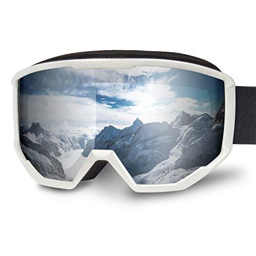 Karvipark Skibrille, Ski Snowboard Brille Brillenträger Schibrille Verspiegelt, Doppel-Objektiv OTG UV-Schutz Anti Fog Snowboardbrille Damen Herren Kinder für Skifahren Snowboard (Weiß VLT9%)