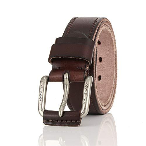 hgkl - Cinturón de piel para hombre, para pantalones vaqueros, pulsera ardillera, para hombre, cinturas para hombres (longitud: 125, color: Brown)