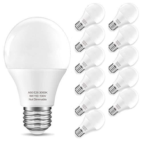 Unilamp 12-Pack A19 60W Equivalent LED Light Bulb 900 Lumens, 3000K(Warm White) Non-Dimmable 9W, E26 Medium Base LED Bulbs, 270° Beam Angle A19 LED Bulbs, 12 Count