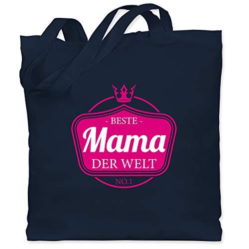 Shirtracer Muttertagsgeschenk - Beste Mama der Welt Krone - Unisize - Navy Blau - stoffbeutel beste mama - WM101 - Stoffbeutel aus Baumwolle Jutebeutel lange Henkel