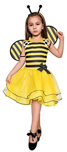 Magicoo Bienenkostüm Kinder Mädchen inkl. Kleid, Fühler & Flügel, Gr von 92 bis 140 - Biene Kostüm Kinder (122/128)