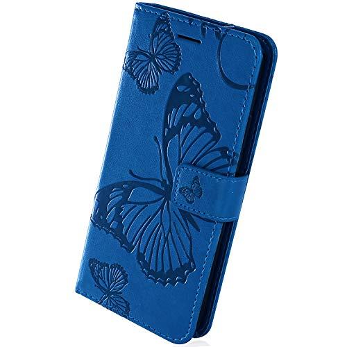 Herbests Compatible con Samsung Galaxy A7 2018, funda de piel para teléfono móvil con diseño de mariposas, 3D, retro, de piel, con cierre magnético, tarjetero, color azul