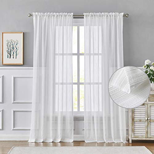 Melodieux Striped Texture White Sheer Curtains 96 Inches Long for Living Room, Bedroom Cotton Linen Look Rod Pocket Voile Drapes, 52 x 96 Inch (2 Panels)
