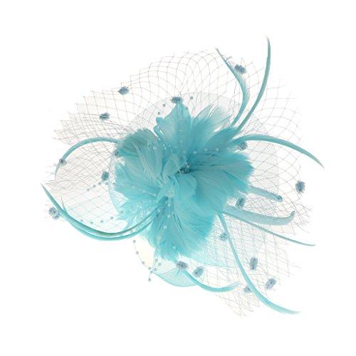 joyMerit Maille Bande de Cheveux Plume Fleur Fascinator Femmes Dames Jour Burlesque Fête Déguisement Bandeau - bleu Lac, 7,09 x 5,51 x 3.15inch