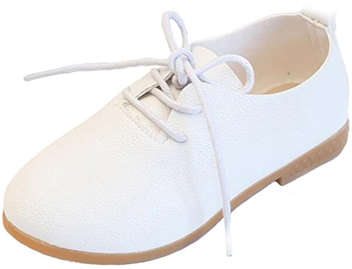 PPXID Fille garçon British Style Lace-Up Casual Flat Oxford Chaussures-Blanc 22