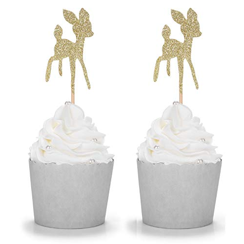 24 Counts Gold Baby Deer Cupcake Toppers for Baby...