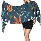 Bokueay Bufanda de moda para mujer Women's Warm Shawl Scarf Fashion Long Shawl Wildwood Floral Seamless Pattern Vector Forest Large Soft Imitation Cashmere Pashmina Shawls Wraps Light Tassel Scarf