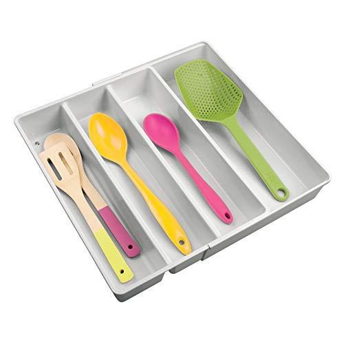 MDESIGN Besteckkasten mit Vier Fächern – ausziehbarer Besteckeinsatz für Schubladen ordnet Küchenutensilien – Schubladen Organizer für Diverse Utensilien – hellgrau