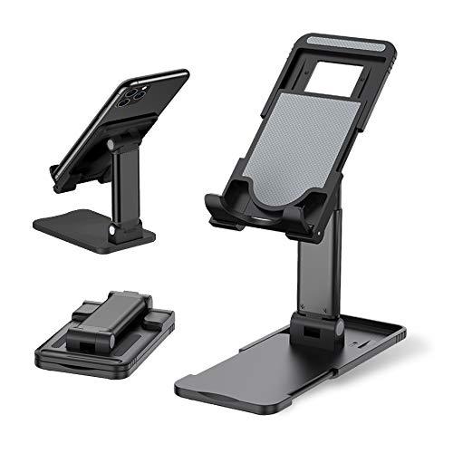 スマホスタンド 卓上スタンド ホルダー タブレット 携帯スタンド 高度調整可能 スマホ スタンド 滑り止め 折り畳み コンパクト 軽量 持ち運びやすい 置台 旅行に対応 (ブラック)