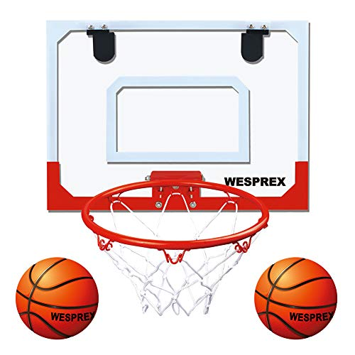 WESPREX Indoor Mini Basketball Hoop Set for Kids with 2 Balls, 16' x 12' Basketball Hoop for Door, Wall, Living Room and Office Use with Complete Accessories, Basketball Toy Gift for Boys and Girls