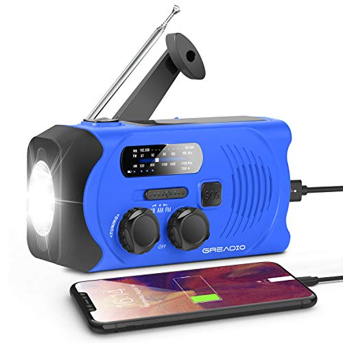 Emergency Hand Crank Radio Weather Solar NOAA Radio with AM/FM, Bright Flashlight, SOS Alarm and 2000mAh Power Bank for Emergency and Outdoor Activies (Blue)