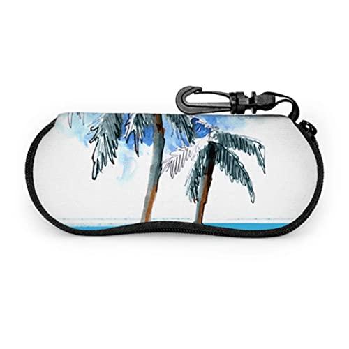 Gses Case, Palm Trees - Gafas de sol de playa con funda suave de neopreno ultraligera con cierre de mosquetón, funda para lentes