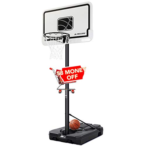 MaxKare Basketball Hoop Outdoor Portable Basketball Goals Adjustable Height 7ft 6in-10ft for Adults Teenagers, 44 Inch Premium Backboard + 2 Wheels + Strong Base