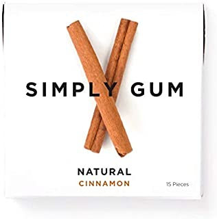 Simply Gum | Natural Chewing Gum | Cinnamon | Pack of Six (90 Pieces Total) | Plant-Based + Aspartame-Free + non-GMO