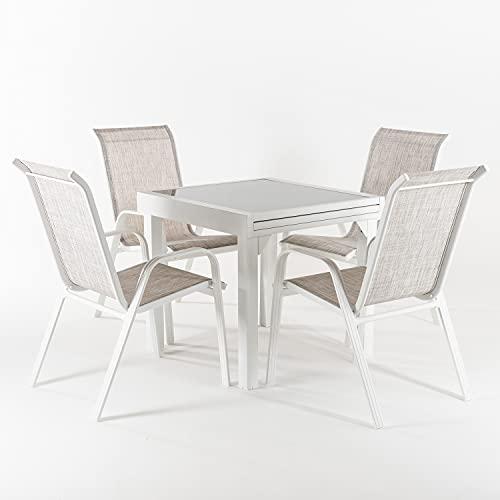 Edenjardi Conjunto Exterior Color Blanco, Mesa Extensible 80/160 y 4 sillones apilables, Aluminio Reforzado, Textilene taupé Jaspeado, 4 plazas