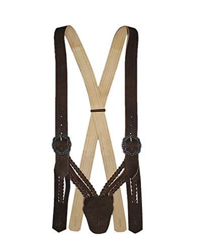 MADDOX Hosenträger Lederhosenträger Flecht-Träger V-Form braun Trachten-Hosenträger Trachtenträger für Lederhose aus Leder geflochten abknöpfbar braces suspenders, Größe:S