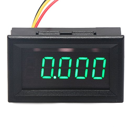 """DROK-100035 0.36"""" 5 Digits DC Voltmeter Panel Mounting Meter 0-33.000V 12V/24V Voltage Monitor Tester Volt Gauge with Green LED Display and 3 Wires"""