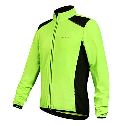 SXJC Chaqueta Impermeable Ciclismo Hombre Chaqueta Lluvia Unisex con Tira Reflectante, Running Y Golf, Cortavientos, Ultraligera, Plegable,XL
