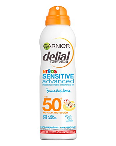 Garnier Delial Niños Sensitive Advanced Spray Protector Solar Anti-Arena para Pieles Claras, Sensibles, Alta Protección IP50+ - 200 ml