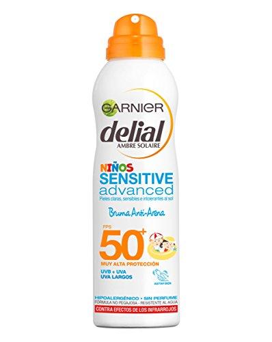 Garnier Delial Niños Sensitive Advanced Spray Protector Solar Anti-Arena para Pieles Claras, Sensibles, Alta Protección IP50+ - 200 ml