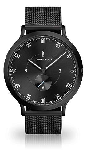 Lilienthal Berlin Unisex Armbanduhr L1   Prämiertes Design   Qualität Made in Germany (groß 42,5mm, L1 All Black/Armband: mesh schwarz)