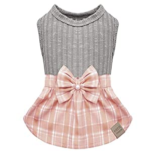kyeese Dog Plaid Dress with Bowtie Dog Sweater Dresses for Small/Medium Dogs Cat Dress Checked
