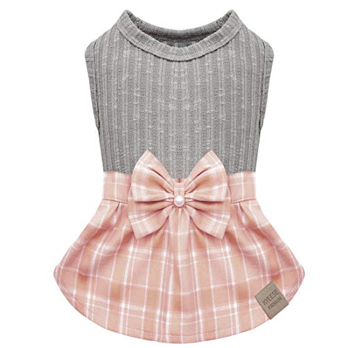 kyeese Dog Dress Plaid with Bowtie Dog Sweater Dresses for Small Dogs Cat Dress Puppy Dress