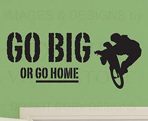 pegatina de pared 3d pegatina de pared frases Etiqueta de la cita Art Large Go Big Or Go Home Sala de deportes para niños