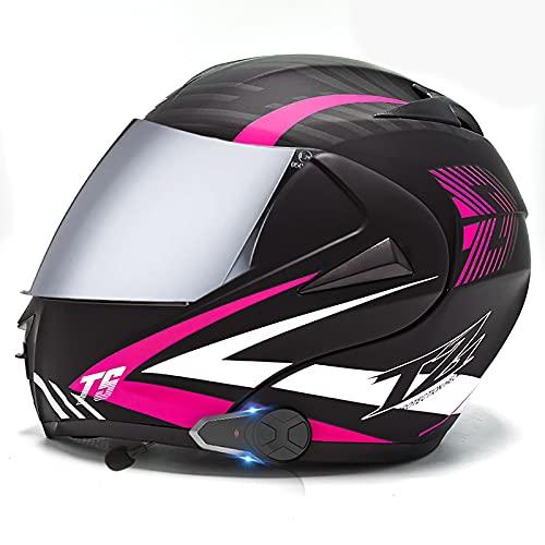 Casco motocicleta modular con Bluetooth, casco de moto integral,aprobado DOT/ECE ligero,Walkie talkie con doble visera,cascos de motocross Con FM para hombres mujeres adultos I,L=59-60CM