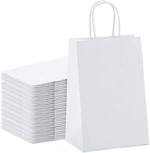 Switory Bolsa de papel Kraft de 50 piezas, bolsa de regalo de compras blanca de 13x9,5x20cm con asas retorcidas para el favor de la fiesta, embalaje, personalización, transporte, venta al por menor