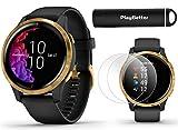 Garmin Venu GPS Smartwatch (Black/Gold) Power Bundle | 2019 Model | +HD Screen Protectors (x4) & PlayBetter Portable Charger | AMOLED Display, Spotify