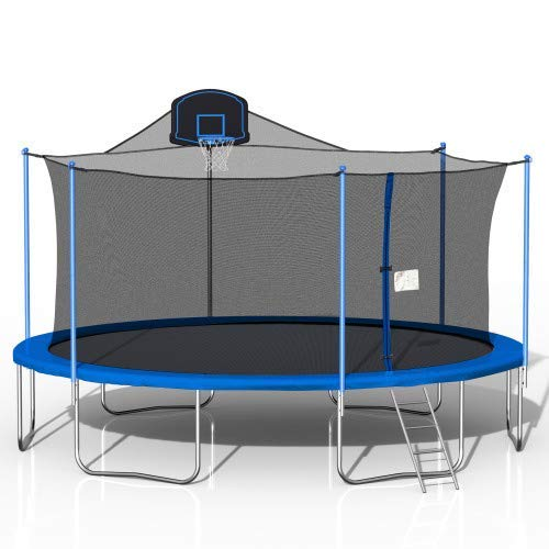 STARTOGOO 16FT Trampoline with Basketball Hoop Safety Enclosure Net and Ladder, Outdoor Trampolines for Kids, Adults, Blue