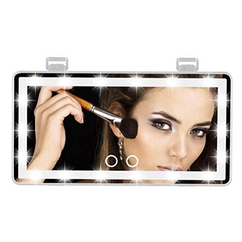 Poapo Espejo de Visera de Coche, protección Solar de Maquillaje, Espejo cosmético, con 60 Luces LED 3 Modos de iluminación