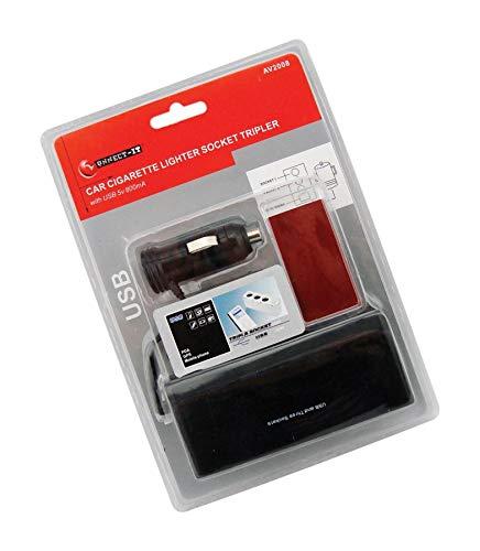 Connect It - Divisor de 3 vías para encendedor de cigarrillos de coche + puerto USB