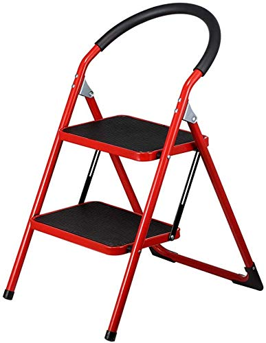 TZ 2-Step klapstoel met handvat, antislip, stevig, Bandbreedte pedaal Rood