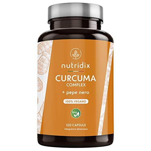 Curcuma Bio (650mg) con Pepe Nero (50mg) e Zenzero (10mg) | 120 Capsule Gastroresistenti | Integratore 100{fea6a83b6361c3fa952a0aba9f3315f48a5ffdadfef3bf6938e774d2e8a3d7d5} Vegano | Curcuma Complex | Prodotto da Nutridix