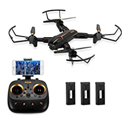 Functions: Foldable, Sideward flight, turn left/right, up/down, forward/backward, altitude hold, one key take off/landing, WiFi FPV, headless mode, auto return, waypoint fly, surround flight, Follow me. 5G WIFI 1080P camera enables you to have a furt...