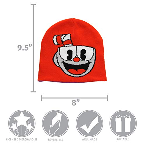 elope Cuphead Bad End Reversible Knit Beanie Hat Adults Kids Red