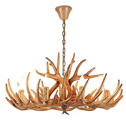 LHLJ Antler Lámpara de Techo Estilo Vintage, lámpara Colgante de Resina con 9 portalámparas en Espiral de E14, Luces Decorativas de Interior para Sala de Estar, Bar, cafetería, Comedor, etc.