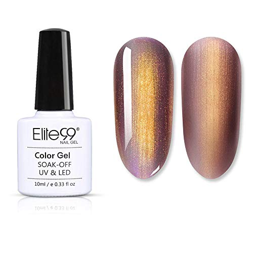 Elite99 Meerjungfrau Roségold Serie UV Nagellack, Glitzer Gold Design Gellack Nageldesign Gel Farbgel, Nagelgel Soak Off Gel-Lack Rosa Gold Gel Polish 10ml -43006