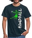 Spreadshirt Joueur De Handball À L'Attaque T-Shirt Homme, S, Marine