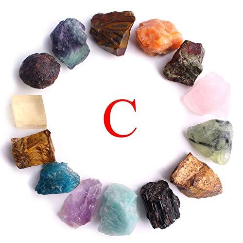 Natürliche 14 Arten von Kristall fiel Stein Felsen Quarz grobe Mineralien Probe Mini Edelstein Reiki Chakra Aquarium Dekor Geschenk Meditation Reiki (Size : 14pcs a Set C)