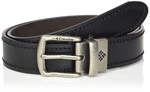 Columbia - Cintura reversibile in pelle per jeans da uomo, con cinturino a doppia faccia - nero - Medium