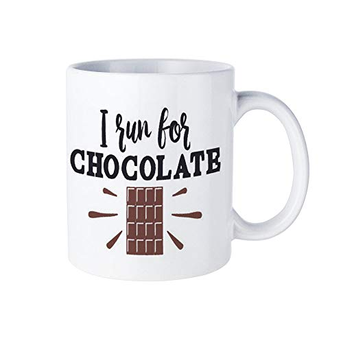 I Run for Chocolate Zitate Plotterdatei 11oz White Ceramic Coffee Mug Coffee Cup Perfect Christmas Holiday Gift Idea